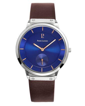 Quartz Men's Watch DANDY Blue Dial Brown Leather Strap