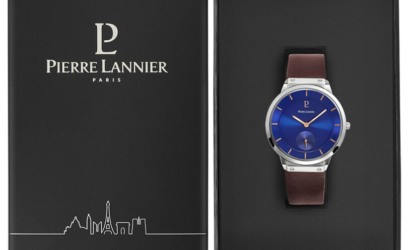 Montre Homme DANDY Cadran Bleu Bracelet Cuir Brun