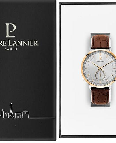 Quartz Men's Watch ALLURE Silver Dial Brown Leather Strap