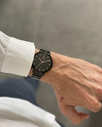 Montre Homme ECHO Cadran Noir Bracelet Acier Noir