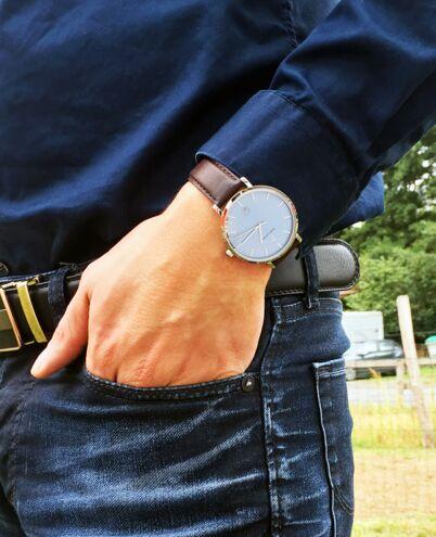 Montre Homme ECHO Cadran Bleu Bracelet Cuir Brun