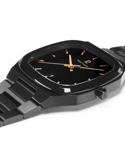 Montre Homme CONTRASTE Cadran Noir Bracelet Acier Noir
