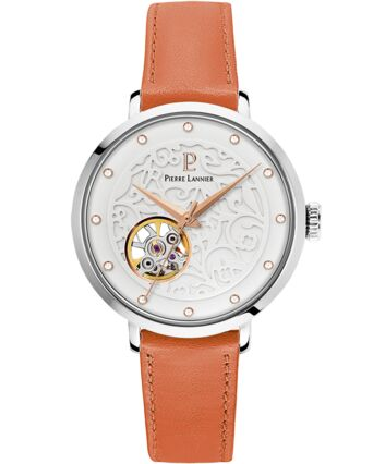 Automatic Ladies Watch EOLIA White Dial Leather Strap