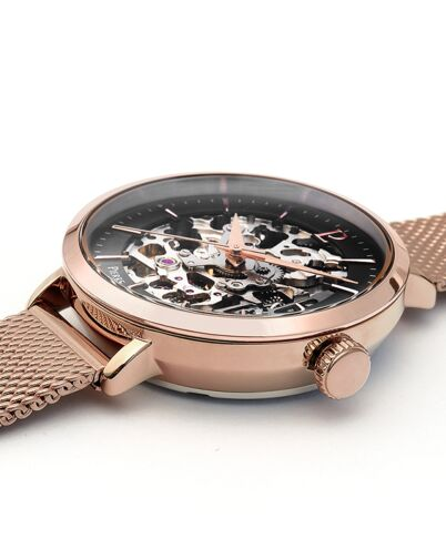 AUTOMATIC Ladies Watch AUTOMATIC Black Dial Rose Gold colour Mesh steel Strap