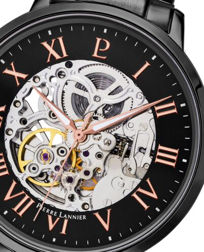 Automatic MEN Watch AUTOMATIC Black Dial Black Steel Strap