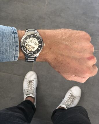 Montre Homme AUTOMATIC Cadran Noir Bracelet Acier Argenté
