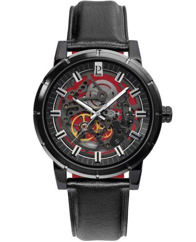 AUTOMATIC Men's Watch AUTOMATIC Black Dial Black Leather Strap