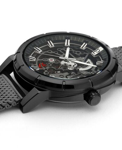 Montre Homme AUTOMATIC Cadran Noir Bracelet Acier milanais Noir