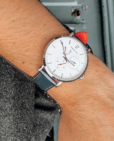 Montre Homme AUTOMATIC Cadran Blanc Bracelet Cuir Bleu