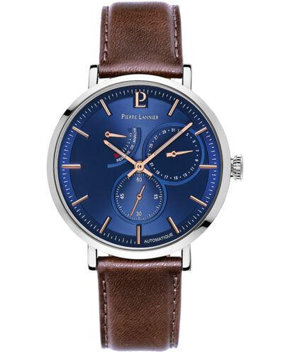 Automatic Men's Watch AUTOMATIC Blue Dial Brown Leather Strap