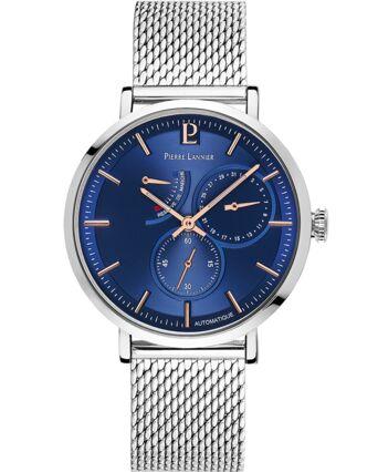 Montre Homme AUTOMATIC Cadran Bleu Bracelet Acier Milanais Argenté