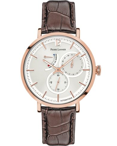 Automatic Men's Watch AUTOMATIC Silver Dial Brown Leather Strap