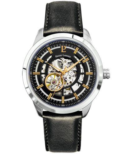 Automatic MEN Watch AUTOMATIC Black Dial Black Leather Strap