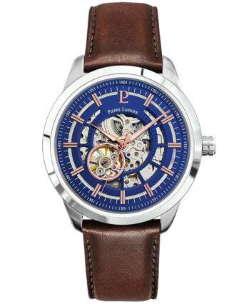 Montre Homme AUTOMATIC Cadran Bleu Bracelet Cuir Brun
