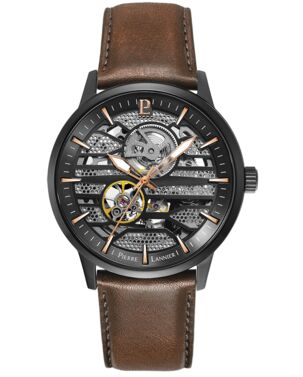 Automatic MEN Watch IMPACT Grey Dial Brown Leather Strap