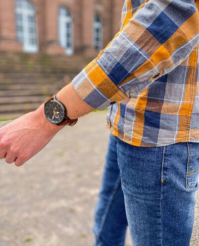 Montre Homme IMPACT Cadran Gris Bracelet Cuir Brun