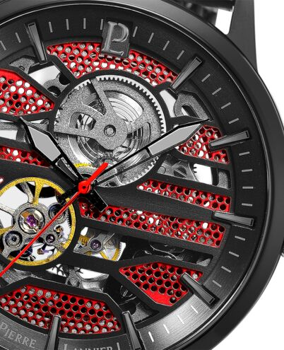 Automatic MEN Watch IMPACT Red Dial Black Mesh Strap