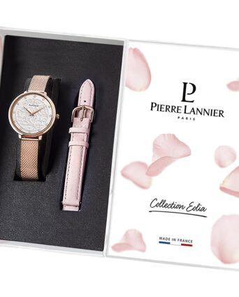 Coffret Femme EOLIA Cadran Blanc Bracelet Acier milanais Doré rose