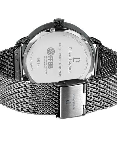 Coffret Homme FFBB Cadran Noir Bracelet Acier milanais Noir