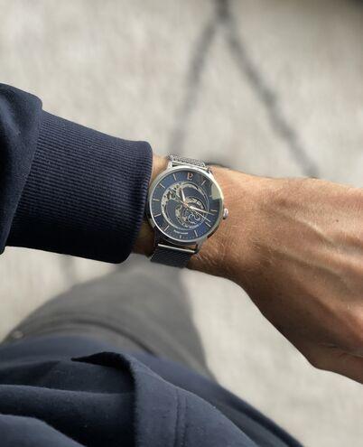 Coffret Homme RCS Cadran Bleu Bracelet Acier Milanais Argenté