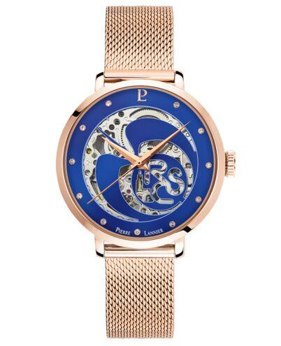 Montre Femme RCS Cadran Bleu Bracelet Acier Milanais Doré- rose