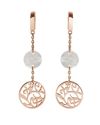 Earrings EOLIA steel rose gold