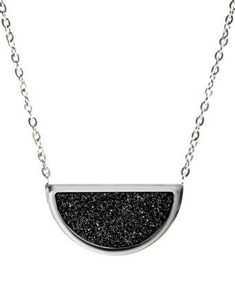 Necklace CRISTAL steel silver black