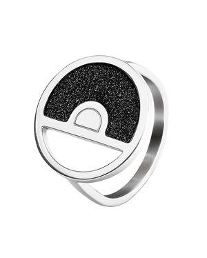 Ring CRISTAL steel silver black 54mm