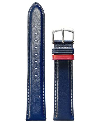 Bracelet de montre cuir bleu et rouge 20mm